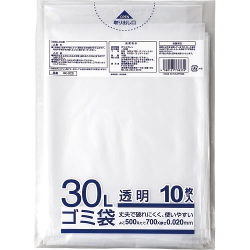クラフトマン 業務用透明 メタロセン配合厚手ゴミ袋 30L HK-025 1セット(600枚:10枚×60パック)