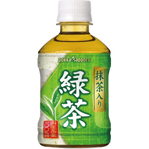 ポッカサッポロ 抹茶入り 緑茶 280ml ペットボトル 1ケース(24本)