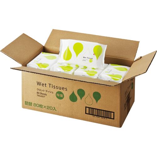 TANOSEE アルコール除菌ウェットティッシュ 詰替用 1ケース(1600枚:80枚×20パック)