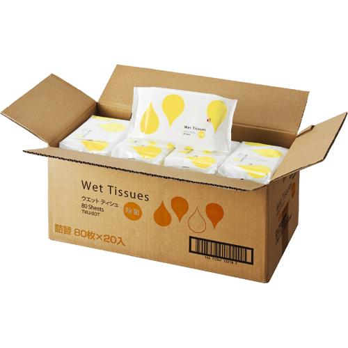 TANOSEE ノンアルコール除菌ウェットティッシュ 詰替用 1ケース(1600枚:80枚×20パック)