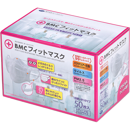 ビー・エム・シー BMCフィットマスク 3層式 レディース&ジュニア 1セット(2500枚:50枚×50箱)