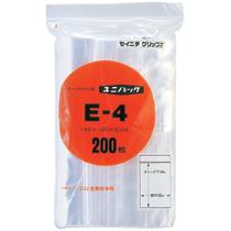 セイニチ チャック付袋 ユニパック ヨコ100×タテ140×厚み0.04mm E-4 1パック(200枚)