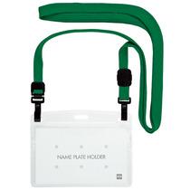 オープン工業 吊下げ名札 ダブルフック式 ヨコ名刺サイズ 緑 NL-1-GN 1パック(10個)